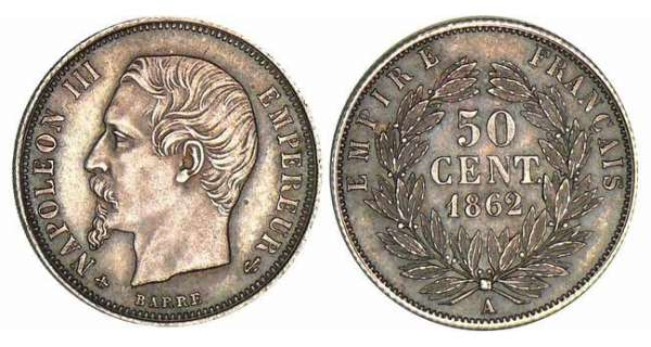 50 centimes Napolon III tte nue - 1862 A (Paris)