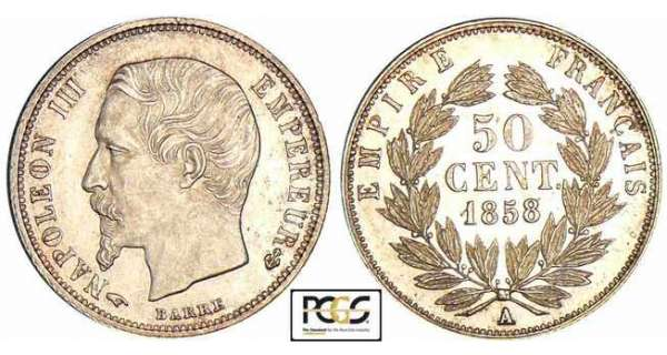 50 centimes Napolon III tte nue - 1858 A (Paris)