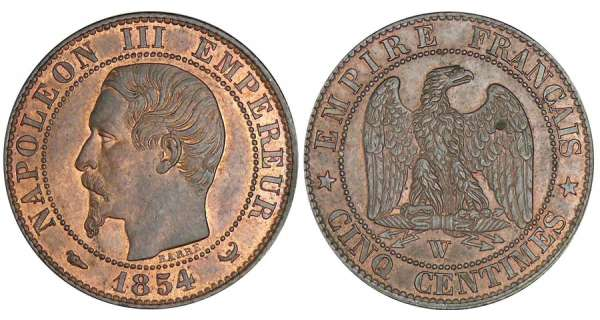 5 centimes Napolon III tte nue - 1854 W (Lille)