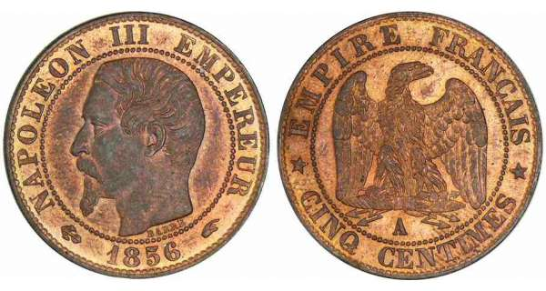 5 centimes Napolon III tte nue - 1856 A (Paris)