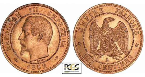 10 centimes Napolon III tte nue - 1852 A (Paris)