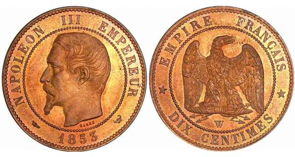 10 centimes Napolon III tte nue - 1853 W (Lille)