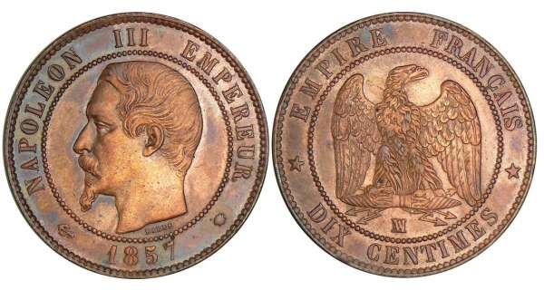 10 centimes Napolon III tte nue - 1857 MA (Marseille)