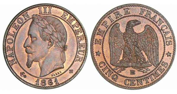 5 centimes Napolon III tte laure - 1861 BB (Strasbourg)