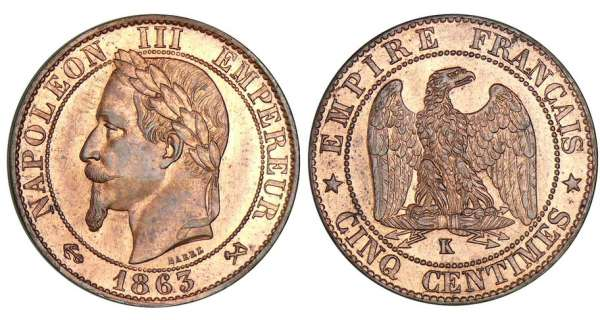 5 centimes Napolon III tte laure - 1863 K (Bordeaux)
