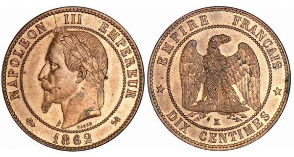 10 centimes Napolon III tte laure - 1862 K (Bordeaux)
