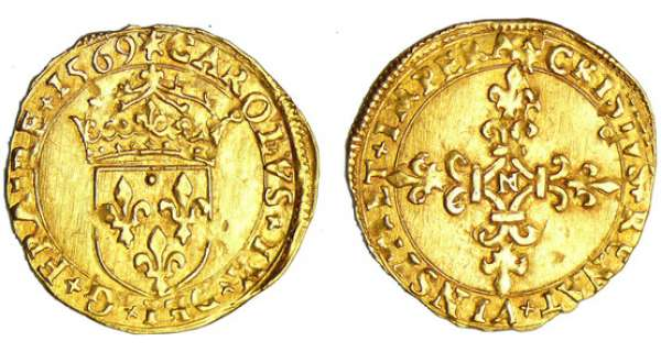 Charles IX (1560-1574) - Ecu d'or - 1er type - 1569 N (Montpellier)