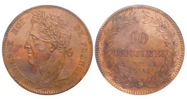 Charles X (1824-1830) - 10 centimes ND