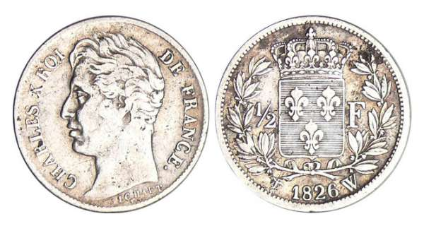 Charles X (1824-1830) - 1/2 franc 1826 W (Lille)