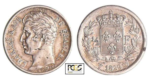 Charles X (1824-1830) - 1/2 franc 1829 W (Lille)