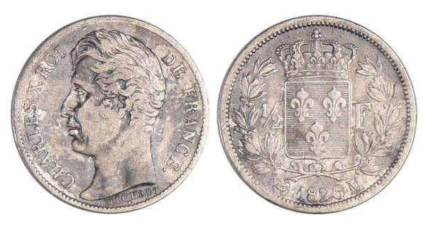 Charles X (1824-1830) - 1/2 franc 1826 M (Toulouse)