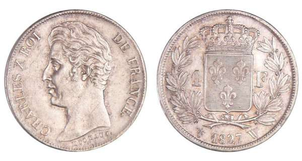 Charles X (1824-1830) - 1 franc 1827 W (Lille) 5 feuilles