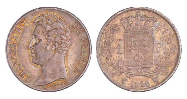 Charles X (1824-1830) - 1 franc 1828 W (Lille) 5 feuilles