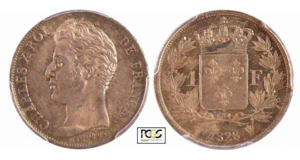 Charles X (1824-1830) - 1 franc 1828 W (Lille)