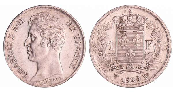 Charles X (1824-1830) - 1 franc 1829 W (Lille) 5 feuilles