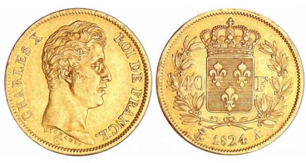 Charles X (1824-1830) - 40 francs 1er type 1824 A (Paris)