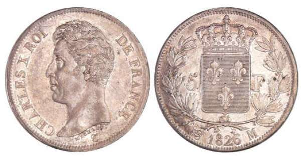 Charles X (1824-1830) - 5 francs 1er type 1826 M (Toulouse)