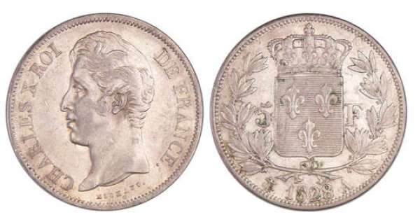 Charles X (1824-1830) - 5 francs 2ème type 1828 A (Paris)
