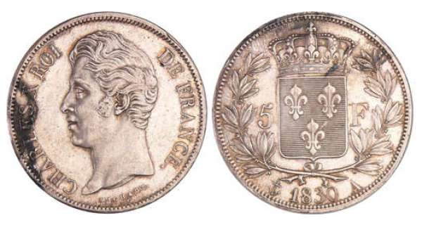 Charles X (1824-1830) - 5 francs 2ème type 1830 A (Paris)