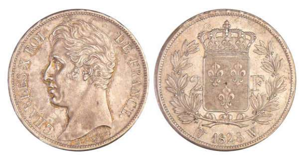 Charles X (1824-1830) - 2 francs 1828 W (Lille)