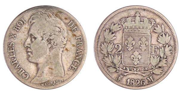 Charles X (1824-1830) - 2 francs 1826 M (Toulouse)