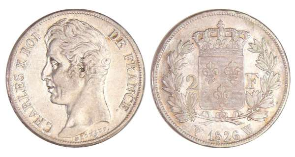Charles X (1824-1830) - 2 francs 1826 W (Lille)