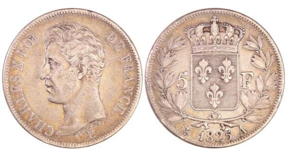 Charles X (1824-1830) - 5 francs 1er type 1825 A (Paris)