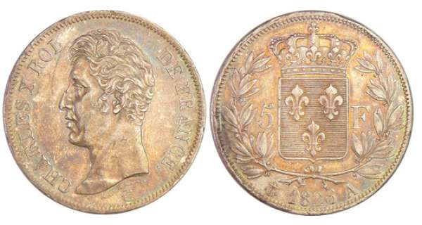 Charles X (1824-1830) - 5 francs 1er type 1826 A (Paris)