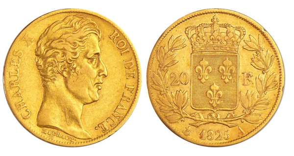 Charles X (1824-1830) - 20 francs 1825 A (Paris)
