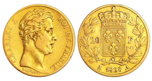 Charles X (1824-1830) - 20 francs 1828 A (Paris)