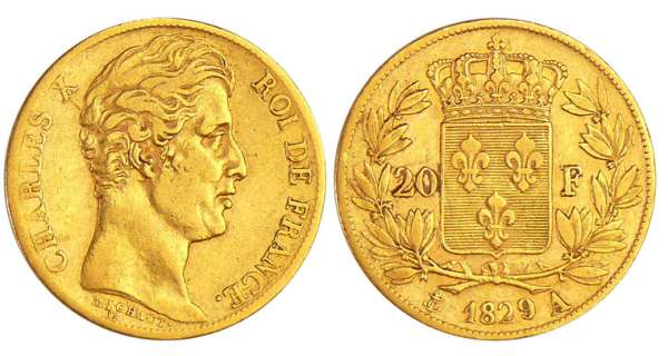 Charles X (1824-1830) - 20 francs 1829 A (Paris)