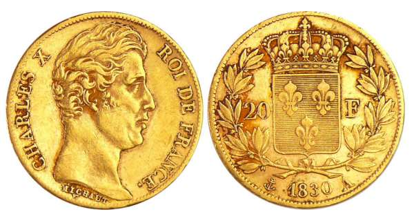 Charles X (1824-1830) - 20 francs 1830 A (Paris)