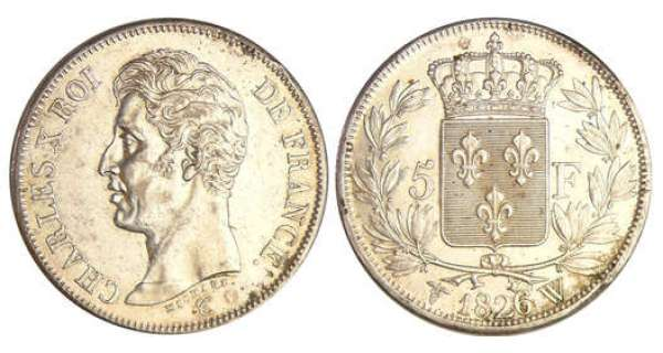 Charles X (1824-1830) - 5 francs 1er type 1826 W (Lille)
