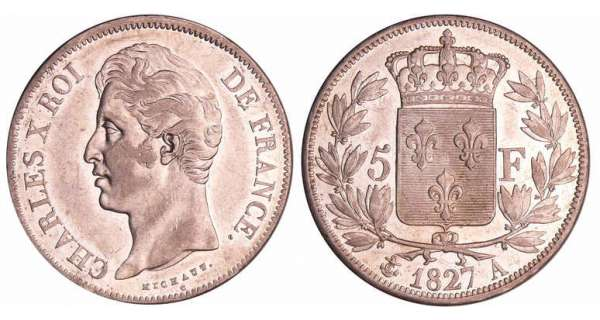 Charles X (1824-1830) - 5 francs 2ème type 1827 A (Paris)