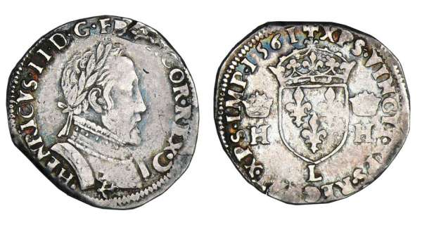 Charles IX (au nom d&#039;Henri II) - Demi-teston - 2me type - 1561 L (Bayonne)