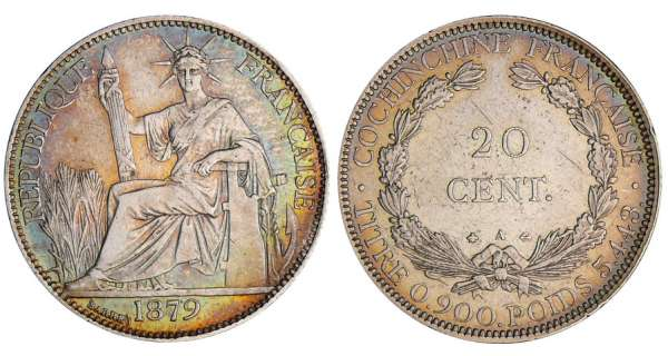 Cochinchine - 20 cent 1879 A