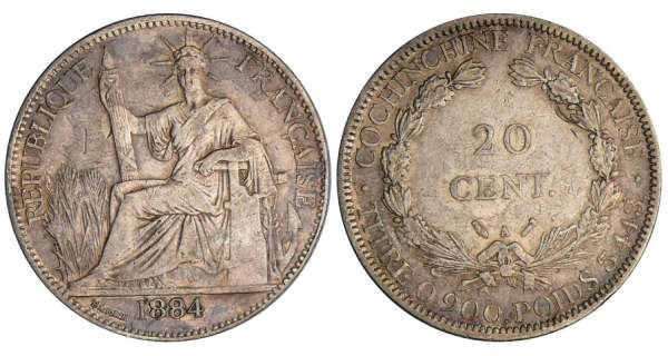 Cochinchine - 20 cent 1884 A