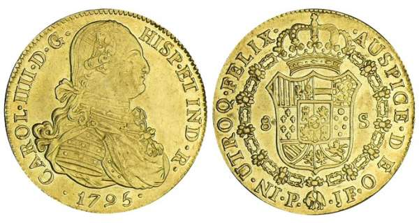 Colombie - Charles IV - 8 escudos 1795 P JF (Popayan) Charles IV (1788-1808).