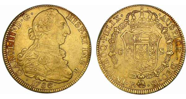 Colombie - Charles III - 8 escudos 1786 P SF (Popayan) Charles III (1759-1788).