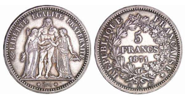Commune de Paris (1871) - 5 francs Hercule Camélinat - 1871 A (Paris)