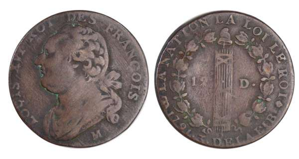 Constitution (1791-1792) - 12 deniers type FRANCOIS 1791 M (Toulouse) An 3