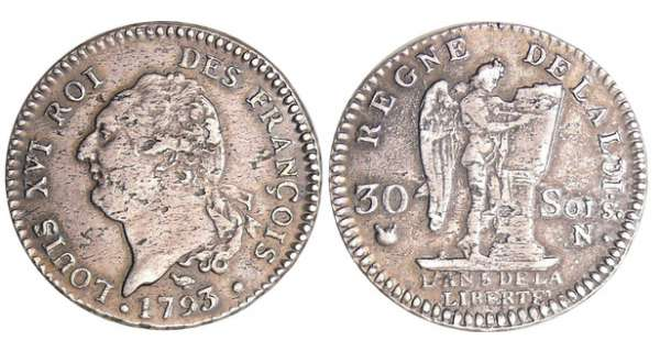 Constitution (1791-1792) - 30 sols type FRANCOIS 1793 N (Montpellier)