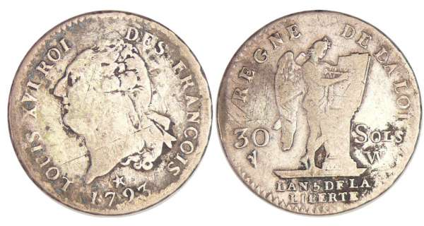 Constitution (1791-1792) - 30 sols type FRANCOIS 1793 W (Lille)