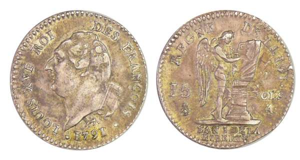 Constitution (1791-1792) - 15 sols type FRANCOIS 1791 A (Paris)