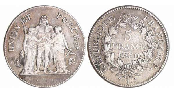 Consulat (1799-1804) - 5 francs Hercule union et force An 11 L (Bayonne)