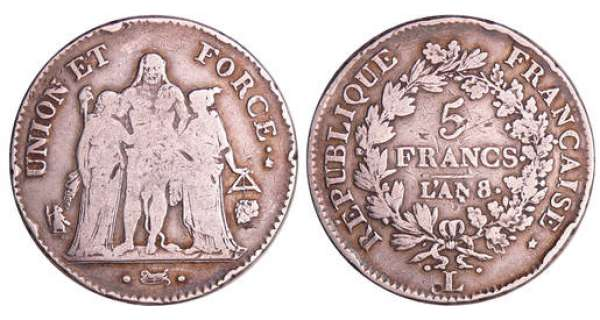 Consulat (1799-1804) - 5 francs Hercule union et force An 8 L (Bayonne) 8/5