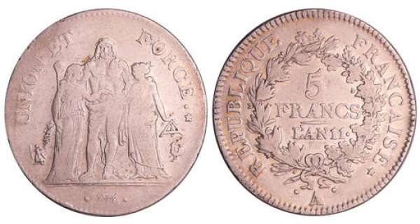 Consulat (1799-1804) - 5 francs Hercule union et force An 11 A (Paris)