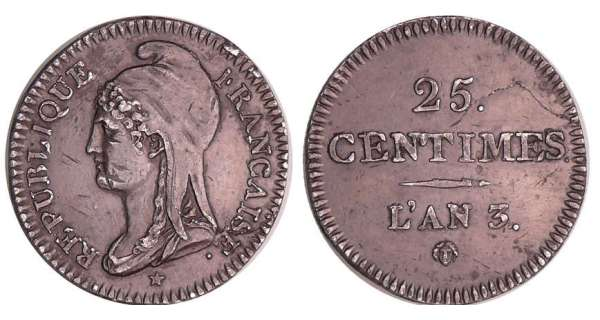 Convention (1792-1795) - 25 centimes An 3
