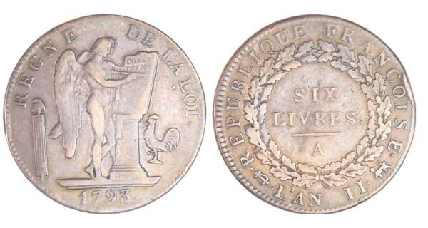 Convention (1792-1795) - Ecu de 6 livres 1793 A (Paris) 2ème sem