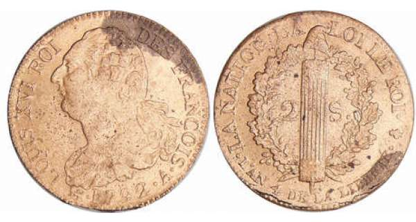 Convention (1792-1795) - 2 sols au faisceau type FRANCOIS - 1792 A (Paris)